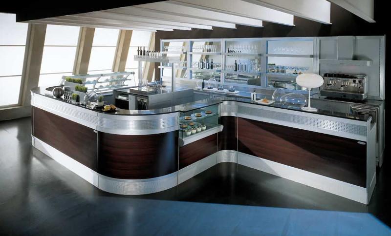 Banco bar linear con mensole illuminate degart for Artic arredo bar