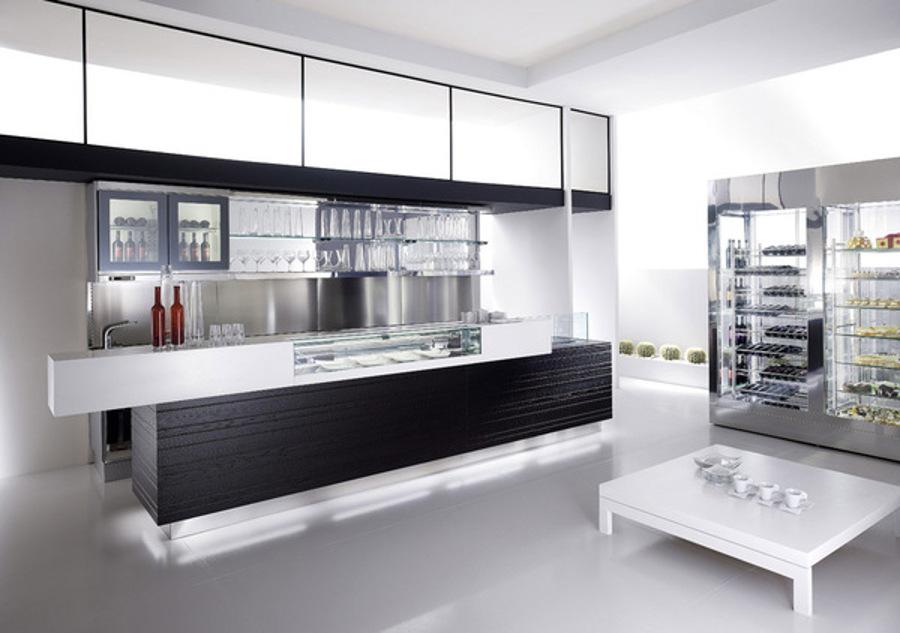 Banco bar sweetwine con piano di lavoro round in acciaio for Arredamento moderno bar