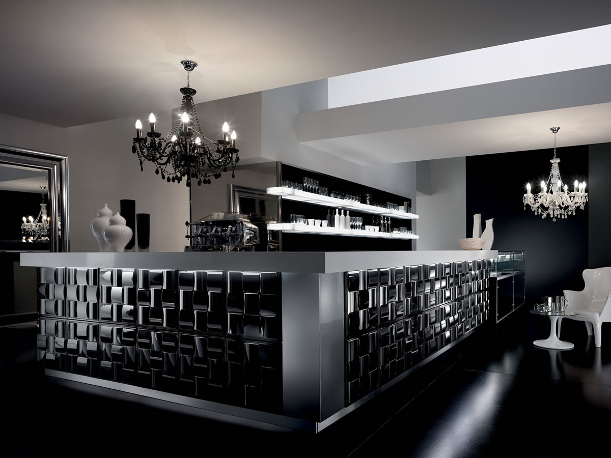 Banco bar gallery con vetrina e alzata macchina caff degart for Arredo bar design