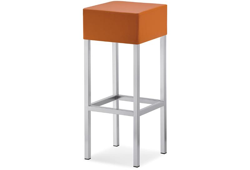 Sgabello bar cube con seduta imbottita e base in metallo degart