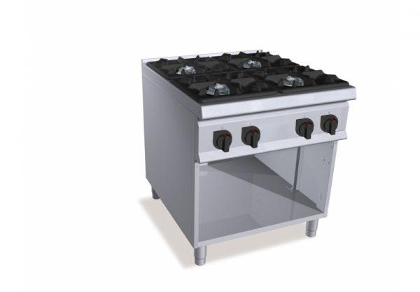 Cucine a Gas professionali con 2, 4, 6 fuochi su vano  Degart